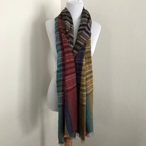 Two sided reversible large scarf striped plaid